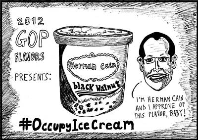 Herman Cain Black Walnut Ice Cream Political Cartoon Original