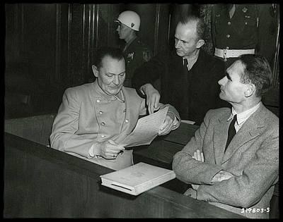 Goering Photograph - Herman Goering And Rudolf Hess Nuremberg Trials Nuremberg Germany 1946 by David Lee Guss
