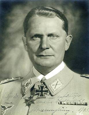 Goering Photograph - Herman Goering Autographed Photo 1945 Color Added 2016 by David Lee Guss