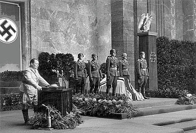 Goering Photograph - Herman Goering Speaking At Rommels Funeral Service 1 by David Lee Guss
