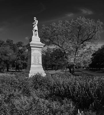 Photograph - Hermann Park Confederate Monument Black And White by Joshua House