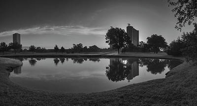 Art Print featuring the photograph Hermann Park Sunrise Black And White by Joshua House