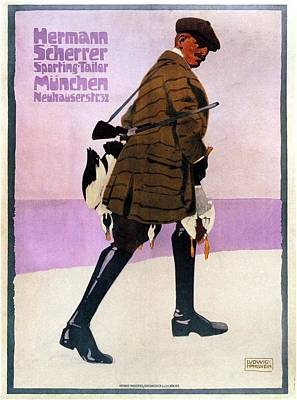 Mixed Media - Hermann Scherrer Sporting Tailor - Munich, Germany - Vintage Advertising Poster by Studio Grafiikka
