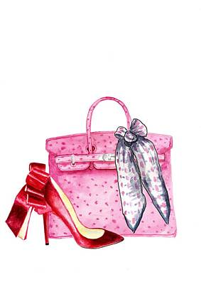 Hermes Wall Art - Painting - Hermes Bag Pink Print by Green Palace