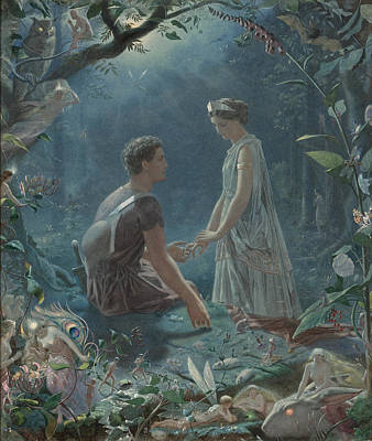 Hermia And Lysander. A Midsummer Night's Dream Art Print