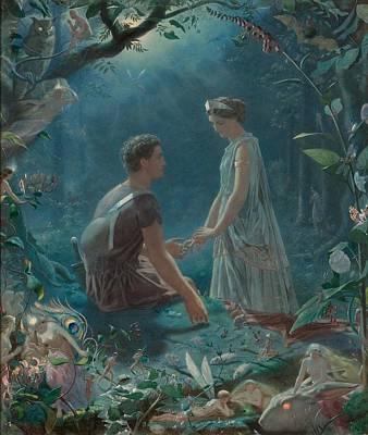 Hermia And Lysander Art Print by John Simmons