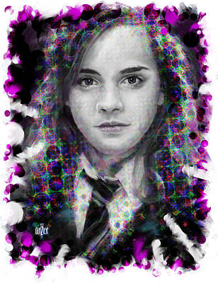 Digital Art Rights Managed Images - Hermione Granger Halftone Portrait Royalty-Free Image by Garth Glazier