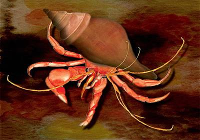Art Print featuring the painting Hermit Crab by Anne Beverley-Stamps