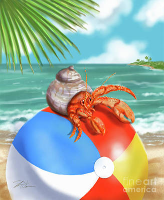 Mixed Media - Hermit Crab On A Beachball by Shari Warren