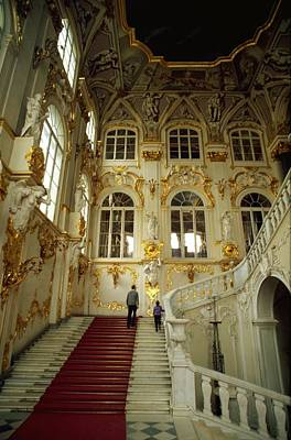 Red Travelpics Photograph - Hermitage Staircase by Travel Pics