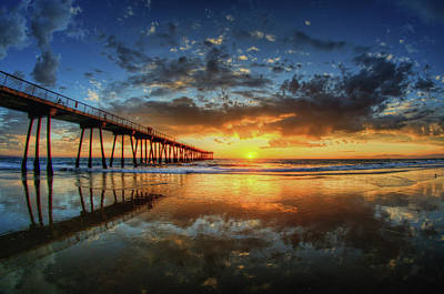 Reflections Photograph - Hermosa Beach by Neil Kremer