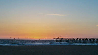 Photograph - Hermosa Beach Pier At Sunset With Seagulls by Mark Barclay