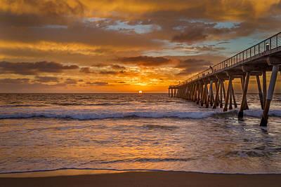 Redondo Beach Pier Wall Art - Photograph - Hermosa Beach Pier Sunset by Daniel Solomon