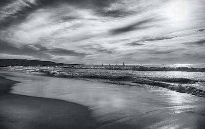 Hermosa Evening Black And White Art Print