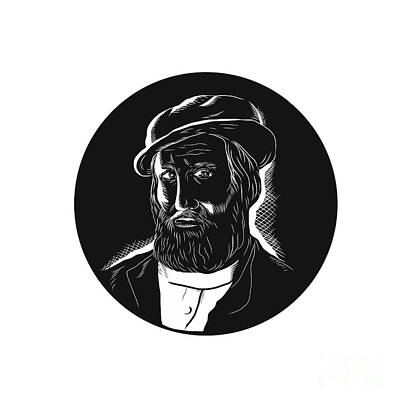 Hernan Cortes Conquistador Woodcut Art Print by Aloysius Patrimonio