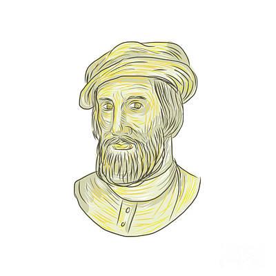 Hernan Cortes De Monroy Drawing Print by Aloysius Patrimonio