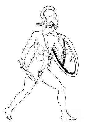 hero - warrior of ancient Greece Art Print by Michal Boubin