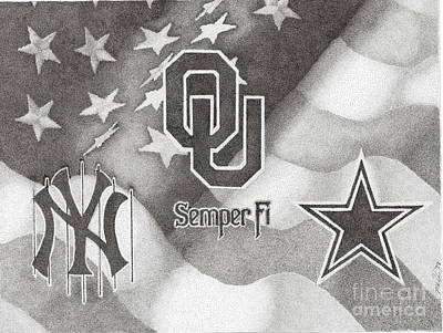 Oklahoma Sooners Drawing - Heroes Have Heroes by Mike Pedone