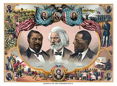 Douglass Painting - Heroes Of The Colored Race  by War Is Hell Store