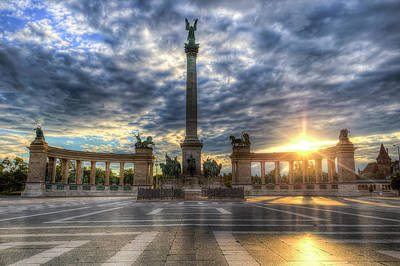 Photograph - Heroes Square Budapest Hungary Sunrise by David Pyatt