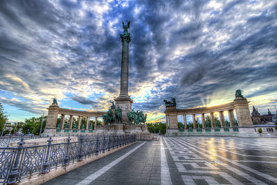 Photograph - Heroes Square Budapest Sunrise by David Pyatt