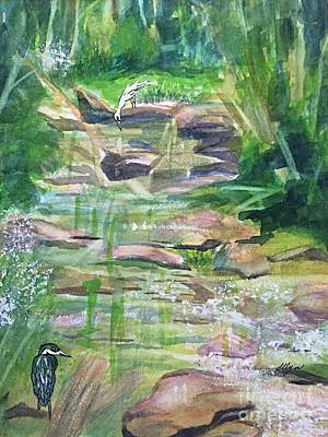 Painting - Heron And Egret In Cool Waters by Ellen Levinson