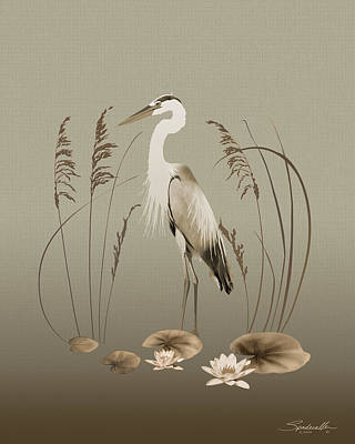 Digital Art - Heron And Lotus Flowers by Spadecaller
