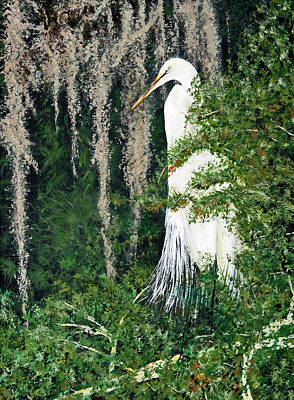 Painting - Heron At Lake Dora, Fl by Lawrence Holofcener