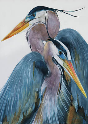 Painting - Heron Couple 2 by Jani Freimann