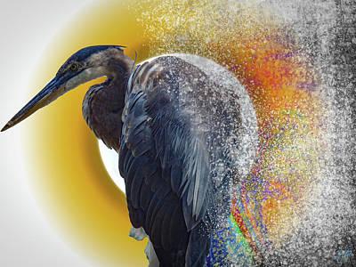 Animals Digital Art - Heron Dispersion by Elie Wolf