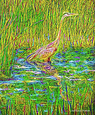 Digital Art - Heron In Deep Stillness by Joel Bruce Wallach