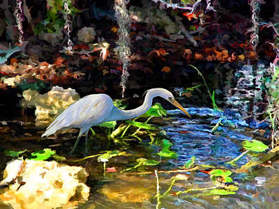 Painting - Heron In Quiet Pool by David  Van Hulst
