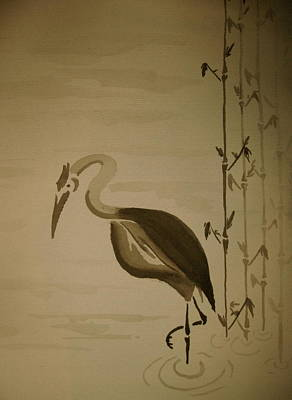 Heron In Sumi-e Art Print by Jeff DOttavio