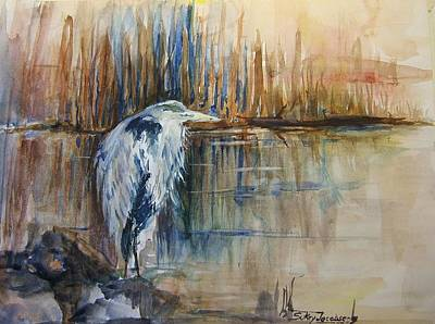 Heron In The Reeds 1 Print by Sukey Watson