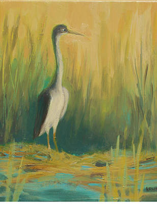 Heron In The Reeds Print by Renee Kahn