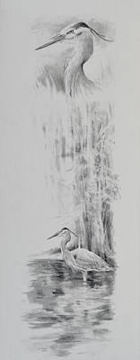 Jimmy Drawings Painting - Heron by Jim Young