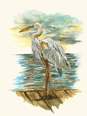 Egret Drawing - Heron by Kathleen Kelly Thompson