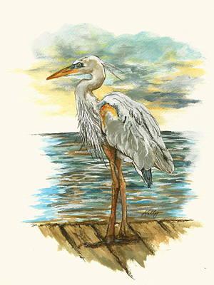 Heron Art Print by Kathleen Kelly Thompson