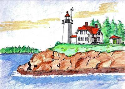 Drawing - Heron Neck Light by Paul Meinerth