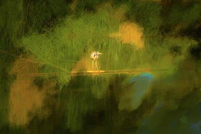 Digital Art - Heron On Abstract #h3 by Leif Sohlman