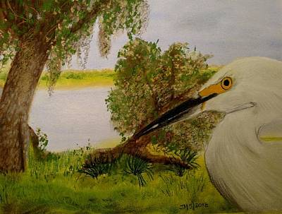 Pastel - Heron On The River by Joan Mansson