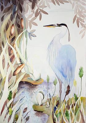 Painting - Heron by Rachel Osteyee