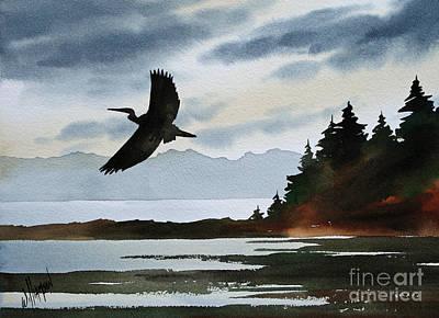 Heron Painting - Heron Silhouette by James Williamson