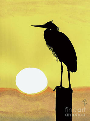 Drawing - Heron Silhouette Sunset by D Hackett