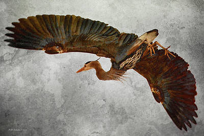 Digital Art - Heron Taking Flight by WB Johnston