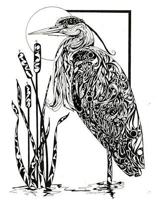 Zen Tangle Drawing - Heron Tangle by Sherry Shipley