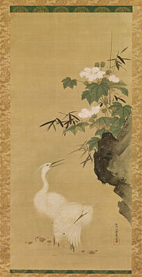 Herons Drawing - Herons And Cotton Roses by Tosa Mitsuoki