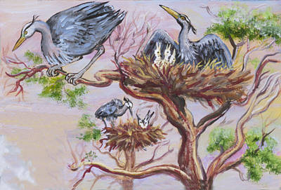 Painting - Herons At Nests by Dawn Senior-Trask