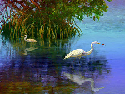 Painting - Herons In Mangroves by David  Van Hulst