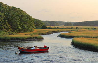 Photograph - Herring River And Red Boat In Morning Light by John Burk